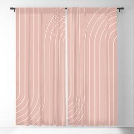 Minimal Line Curvature - Vintage Pink Blackout Curtain
