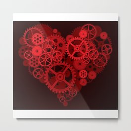 Steampunk - Heart Metal Print