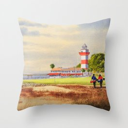 Harbor Town Golf Course SC Throw Pillow