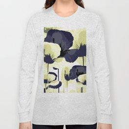 Dark Blue and Light Yellow Poppies On A White Background Fall Mood #decor #society6 #buyart Long Sleeve T-shirt