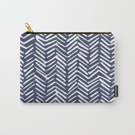 Boho Herringbone Pattern, Navy Blue and White Carry-All Pouch