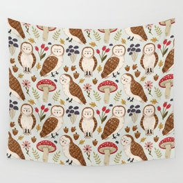 Woodland Owls Pattern Wall Tapestry