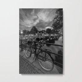 AMSTERDAM Idyllic nightscape from Keizersgracht | Monochrome Metal Print
