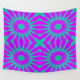 Purple & Teal Pinwheel Flowers Wall Tapestry