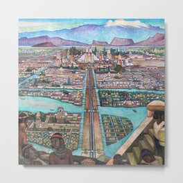 Mural of the Aztec city of Tenochtitlan by Diego Rivera Metal Print