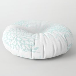 Floral Prints, Soft Teal, Mint Green and White, Modern Print Art Floor Pillow