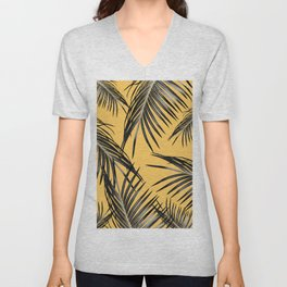 Black Palm Leaves Dream #6 #tropical #decor #art #society6 Unisex V-Neck