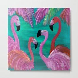 Love My Flamingos Metal Print