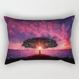 One Tree Hill seaside purple and pink sunset coastal landscape painting Rectangular Pillow