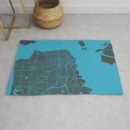 San Francisco map blue 70s Rug
