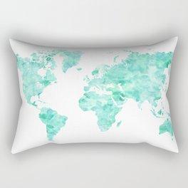 Teal aquamarine watercolor world map Rectangular Pillow