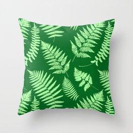 Woodland Fern Pattern, Light Green and  Emerald Throw Pillow