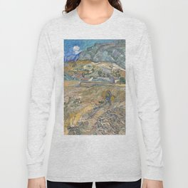 Enclosed Field with Peasant by Vincent van Gogh, 1889 Long Sleeve T-shirt