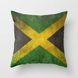 Old and Worn Distressed Vintage Flag of Jamaica Throw Pillow