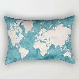 Teal watercolor and light brown world map Rectangular Pillow