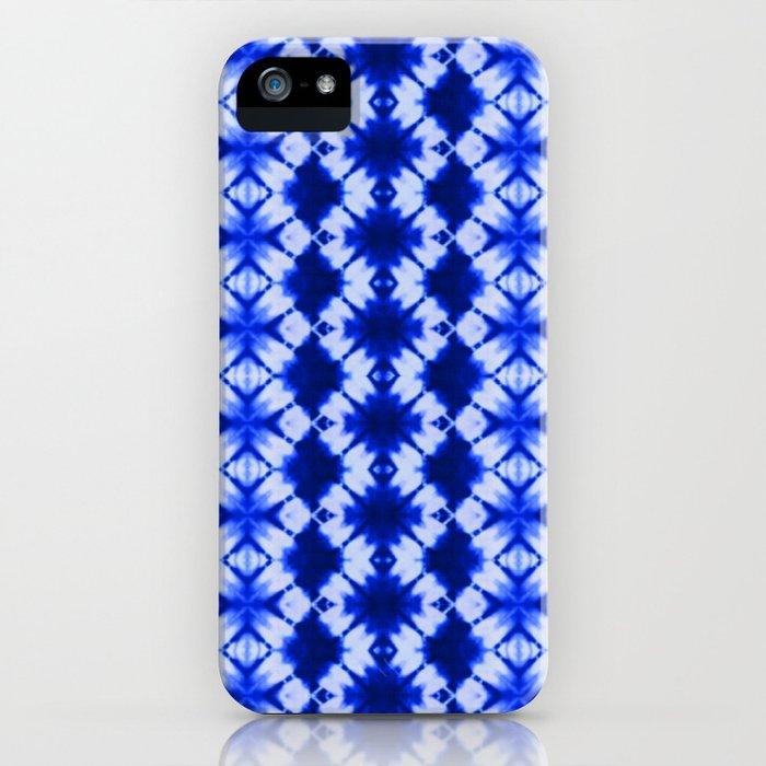 indigo shibori print iPhone Case