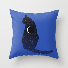 Cosmic Cat in Stars and Crescent Moon Pattern Throw Pillow
