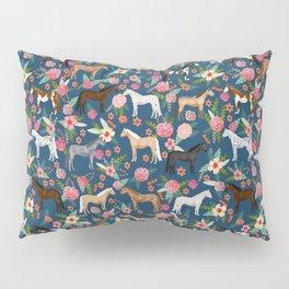 Horse Florals - navy Pillow Sham