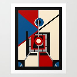 Lighthouse - Mid Century and Art Deco Inspired Abstract Art Print