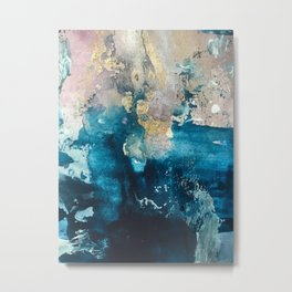 Timeless: A gorgeous, abstract mixed media piece in blue, pink, and gold by Alyssa Hamilton Art Metal Print
