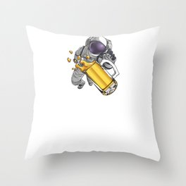 Spaced Out Astronaut Beer Outserspace Science Geek Throw Pillow
