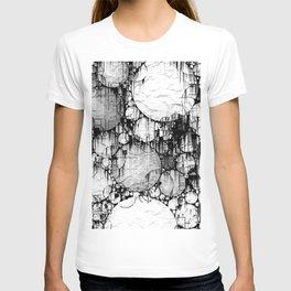 Glitch Black & White Circle abstract T-shirt