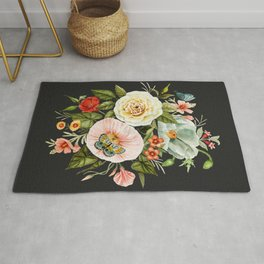 Wildflower and Butterflies Bouquet on Charcoal Black Rug