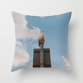 The seagul is watching us Throw Pillow