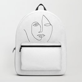 Abstract face One Line Art Backpack
