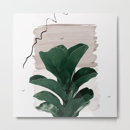 Fiddle Leaf Abstract - Naturelle #1 #minimal #wall #decor #art #society6 Metal Print