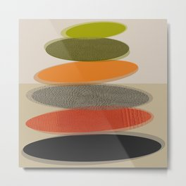 Mid-Century Modern Ovals Abstract Metal Print