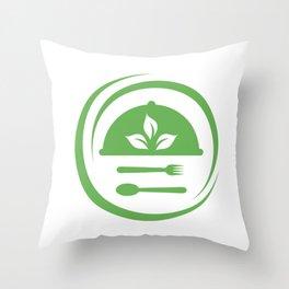 leaves symbolizing Vegetarian friendly diet by European Vegetarian Union Throw Pillow