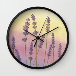 Lavender in Sunset Wall Clock