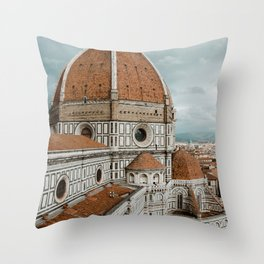 The Duomo Santa Maria del Fiore in Florence, Italy | Church cathedral in Firenze, Tuscany | Photogra Throw Pillow