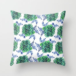 Watercolor houseleek - green and blue Throw Pillow