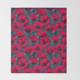 Night poppy garden  Throw Blanket