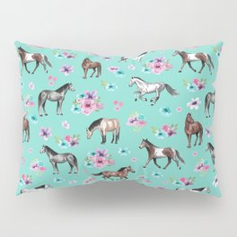 Hand drawn horses, Flower horses, Floral Pattern, Aqua Blue Pillow Sham