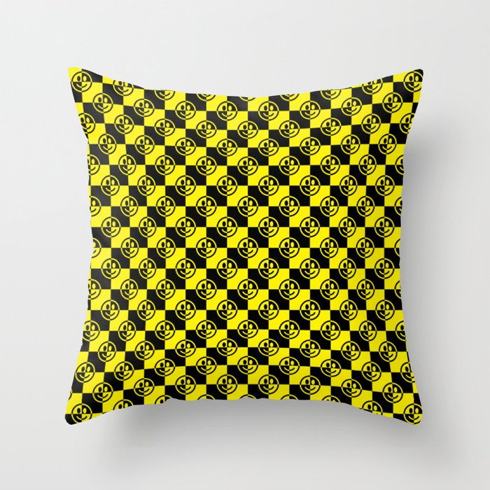 Yellow and Black Smiley Face Check Deko-Kissen