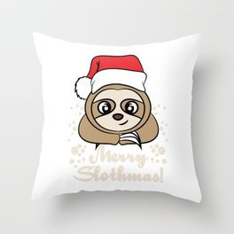 """Merry Slothmas"" tee design. Perfect gift this holiday for your friends and family this season!  Throw Pillow"