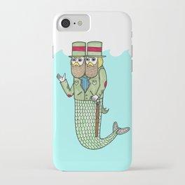 Portrait of a two headed merman iPhone Case