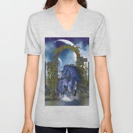 Blue Unicorn 2 Unisex V-Neck