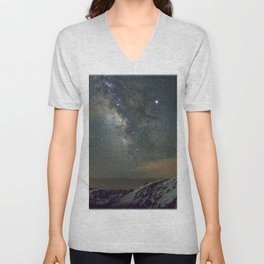 Watercolor Nightscape Milky Way Ute Trail 03, Rocky Mountain National Park, CO Unisex V-Neck