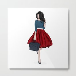 Romantic look, girl in red skirt Metal Print