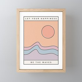 "Ocean Surf ""Let Your Happiness Be the Waves"" // Chill Retro Minimalist Colorful California Summer  Framed Mini Art Print"