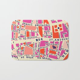 paris map pink Badematte
