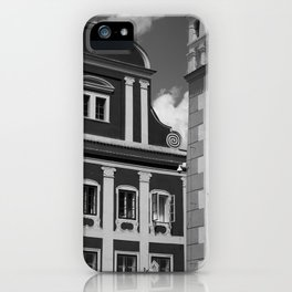 Black and White European Buildings iPhone Case