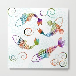Koi - White Stream Metal Print