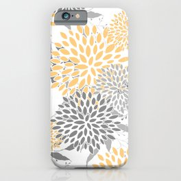 Floral Prints,  Leaves and Blooms, Gray and Yellow iPhone Case