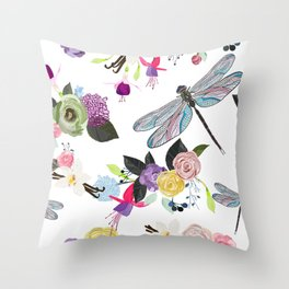 Fuchsia , dragonfly, vanilla flower and colorful flowers Throw Pillow