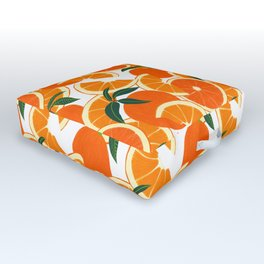 Orange Harvest - White Outdoor Floor Cushion